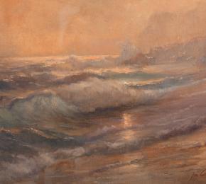 Mořské pobřeží s vlnami
