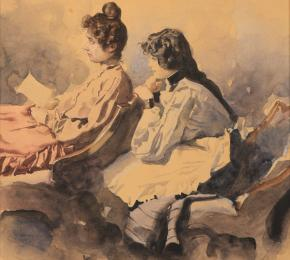 Sedící žena a dívka