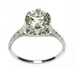 Secesní prsten s briliantem