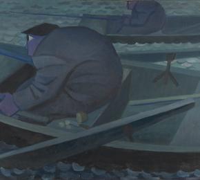 Rybář s prutem na loďce